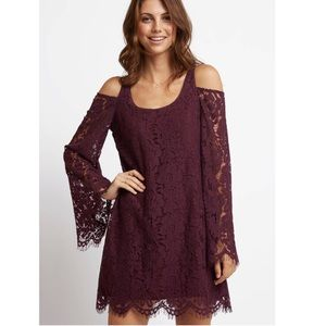 Chaser lace cold shoulder long sleeve mini dress